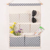 Plaid Cotton Linen Waterproof Stuff Bag Wall Mounting Storage Bags [6377498884]