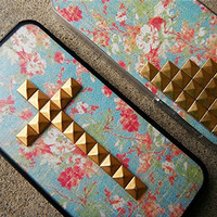 Vintage Floral studded cross iPhone case with bumper