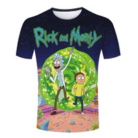 Tight Clothing Rick and Morty Male T-Shirts Summer Short Sleeve Casual Man Shirt Round Neck Sport Tees Top