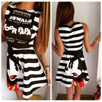 SIMPLE - Hot Popular Summer Mickey Mouse Design Stripes One Piece Dress a10072