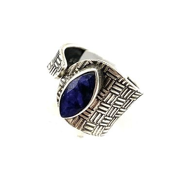 Sapphire Sterling Silver Adjustable Textured Ring