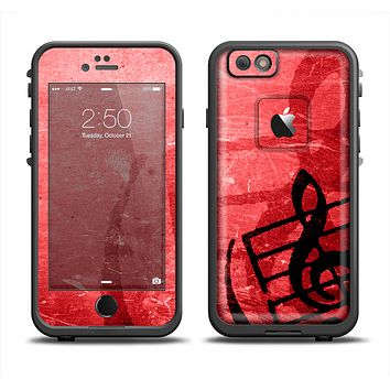 The Scratched Red Surface with Black Music Note Skin Set for the Apple iPhone 6 LifeProof Fre Case