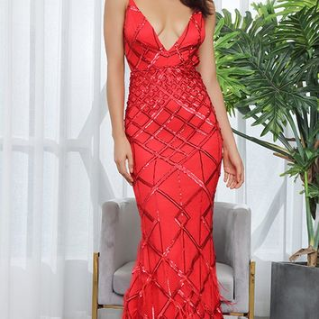 All Dressed Up Red Sequin Geometric Pattern Sleeveless Spaghetti Straps V Neck Backless Feather Trumpet Maxi Dress - Sold Out
