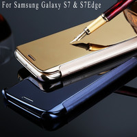 S7 Edge mirror case Leather Luxury Clear View Mirror Flip Electroplating Phone Cases For Samsung Galaxy S7 S7Edge Hard Covers