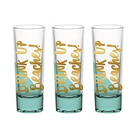"SLANT COLLECTIONS ""DRINK UP BEACHES"" 2OZ SHOT GLASS S/3"