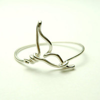 Whale tail wire ring - handmade sterling silver wire 925 - sea whale tail- orca tail ring