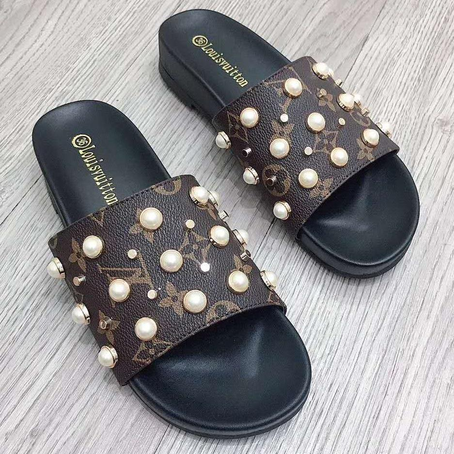 Image of Inseva Louis Vuitton Slippers LV Shoes Preal Rivet Fashion Sandals Coffee LV Print