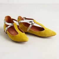 Jayne T-Straps by 67 Collection Yellow 38 Euro Wedges