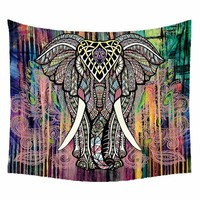 Hot Sale Indian Elephant Tapestry Colored Printed Living Room Decorative Wall Hanging Hippie Tapestry tenture murale 150x130cm