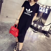 """Adidas"" Women Casual Fashion Letter Logo Print V-Neck Short Sleeve Middle Long Section T-shirt Side Split Dress"