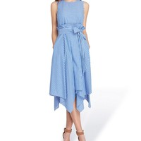 Tahari ASL Cotton Stripe Handkerchief Hem Paper Bag Tie Waist Midi Dress | Dillards