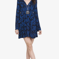 Feather Print V-neck Bell Sleeve Dress from EXPRESS
