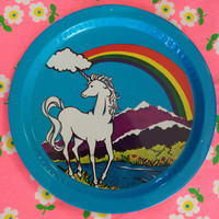 Unicorn and rainbow tin tray/ vintage big round tray with unicorn rainbow cloud mountains and river/ hippie unicorn rolling tray