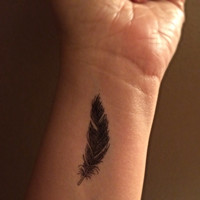 Large Feather Temporary Tattoo / Fake Tattoos / Set of 3