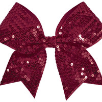 Solid Sequin Cheerleading Performance Hair Bow