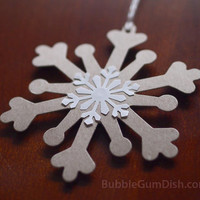 Snowflake Holiday Ornament Hang Tags Gift Tags Set of 6 Large Recycled Chipboard