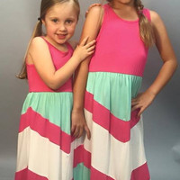 Lala Little Girls Maxi Dress: Fuschia and Mint Chevron