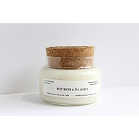 Rose Water & Tea Leaves soy candle - 15 oz apothecary jar