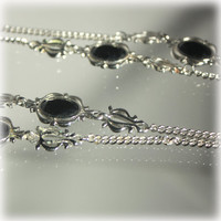 Chain Necklace, Silver Chain, Long Necklace, Black Stones, Sarah Coventry