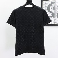 Louis Vuitton LV solid color suede round neck short-sleeved T-shirt-2