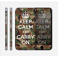 The Keep Calm & Carry On Camouflage Skin for the Apple iPhone 6 Plus