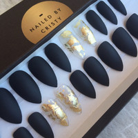 Matte Black Press On Nails with Gold Foil Accent Nails | Any Shape | Nail Art False Glue On Nails