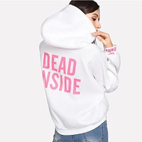 Fashion Street Style Women Casual Loose Pattern Pullover Hoodies