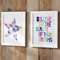 Geo Sentiment Framed Art - Star/Dreams