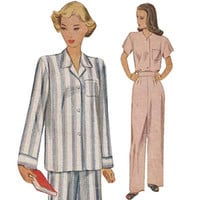 1940s Women's Pretty Pajamas McCall 6539 Bust 34 Vintage Sewing Pattern