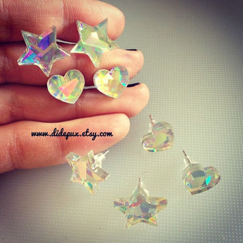 GALAXY Holographic Iridescent Heart or Star stud earrings (select design)