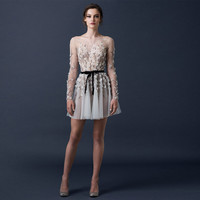 Charming Long Sleeve Mini Cocktail Dresses with Appliques Beaded Full Sleeve Tulle Party Gown See Through Robe De Cocktail SBS36