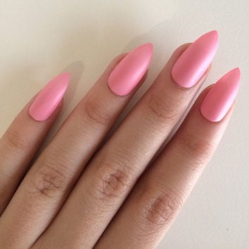 Matte pink stiletto nails, hand painted acrylic nails, fake nails, false nails, stick on nails, nail art, nail designs, artificial nails