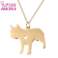 Pet Memorial Gift French Bulldog Necklaces Gold/Silver Pet Dog Love Heart 45cm Chain Necklace Jewelry Animal Breed Pets Bijoux
