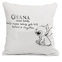 Ohana Stitch Quote Movies Pillow Case (16 x 16 one side)