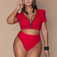 XL-4XL Plus Size Bikini Set Pad Zipper Front Swimsuit Large Swimwear 2019