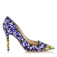 Violet and Yellow Floral Printed Jacquard Pointy Toe Pumps   Avril   Spring Summer 15   JIMMY CHOO Shoes