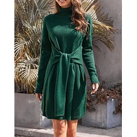 Green Long Sleeve Tie Waist Turtleneck Pullover Sweater Dress