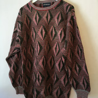 Vintage 80s Puritan Red Green Gray Sweater Size XXLarge