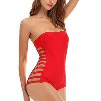 Red Cutout Side Bandage Swimsuit
