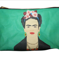FRIDA KAHLO large makeup bag or purse clutch... original drawing