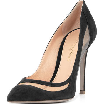 Gianvito Rossi Suede & Tulle Keyhole Pump