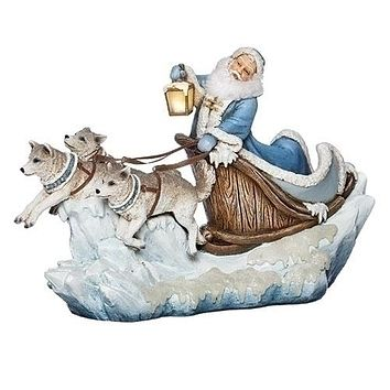 Roman Northern Ice Santa In Sleigh with Lantern Figurine-633274
