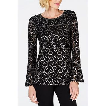 Jm Collection Metallic Lace Bell-Sleeve Top XL