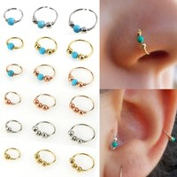 Fashion 1Pc High Quality Nostril Hoop Nose Ring Nose Earring Piercing Hiphop Body Piercing Jewelry