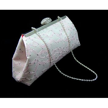 Ivory, Light Pink and Calypso Coral Rhinestone Clutch