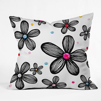 Natalie Baca Rhinestone Garden Throw Pillow