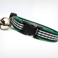 "Cat Collar - ""Mischievous Plaid-ypus"" - Black Gingham on Green"