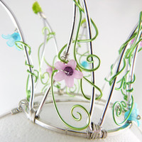 Mini Green Pink and Blue Flower Secret Garden Crown by angelyques