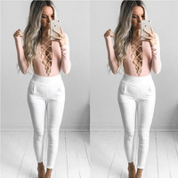 Pink and White Front Straps Long Sleeve Jumpsuit