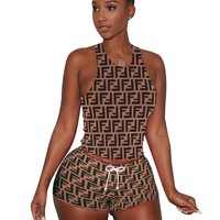 Fendi Summer New Fashion Multicolor More Letter Print Sports Leisure Top And Shorts Two Piece Suit Coffee